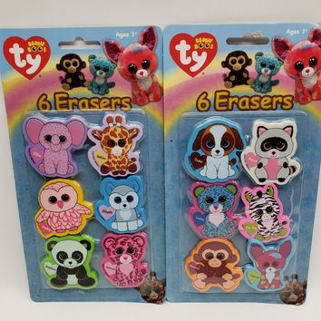 Ty Beanie Boos Die Cut Character Erasers, 2 x 2 Inches Pack of 6  Model 816-3