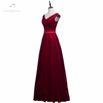 LANSITINA Floor-Length New Dark Red A-Line Evening Dresses Net Pleat Custom Made Lace-up Back Prom Party Gown