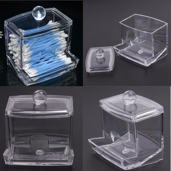 Fashion Clear Acrylic Nail Art Makeup Cotton Pads Swabs Q-tip Storage Holder Box Transparent Cosmetic Tools Container Case
