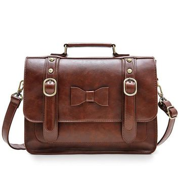 Satchel:  Vintage Leather Bowknot Crossbody Briefcases