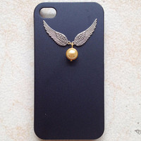 iphone 5 case, Harry Potter Keepsake Ornate Steampunk Flying in Silver double wings Golden Snitch Pendant,Black  IPhone 5 case cover
