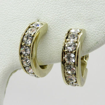 Monet Rhinestone Hoop Earrings, Vintage Gold Tone Small Hoop Clip-ons, Bridal Jewelry