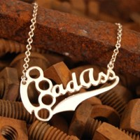 Bad Ass sterling silver pendant nameplate by Fatherpanik on Etsy