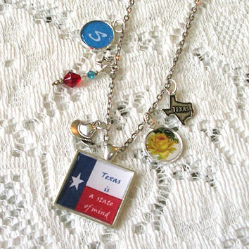 Personalized Charm Necklace - Texas State Jewelry - Steinbeck Texas Is A State Of Mind Pendant Jewelry - Literary Jewelry