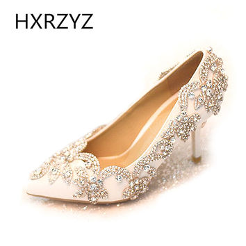 2016 spring and autumn new listing diamond white wedding shoes, high-heeled pointed elegant wedding shoes heels wedding pumps