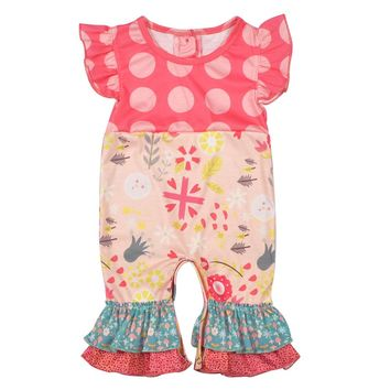 Free Shipping 2018 Baby Girl Clothes Newborn Cotton Romper Polka Dot Infantil Baby Clothes Baby Remake Rompers GPF712-040
