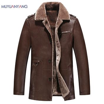 New Arrived Thicken Leather Jacket Men Fur Jackets and Coat Warm Wool Liner Overcoat Solid Faux Leather Jackets