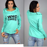 """Who Cares?"" Letter Print Long Sleeve Knitted T-Shirt"