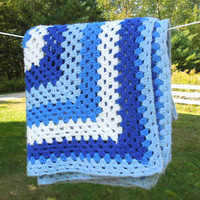 "Vintage navy blue white crochet afghan blanket throw 65"" x 56"""