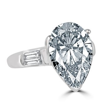 Classic 4 CT.(14x10mm) Pear Center W/Side Baguette Simulated Diamond - Diamond Veneer Sterling Silver Engagement/Wedding Ring 635R71343