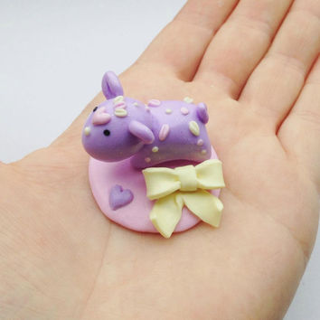 Pastel Momo With Loose Bow Stand, Handmade Polymer Clay Sculpture, Kawaii Tiny Fantasy Creature, Cute Spirit Animal,