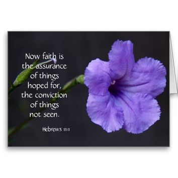 Sympathy Card, Purple Bloom, Bible verse on faith