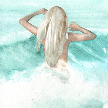 Original watercolor painting young girl running into waves beach art