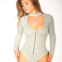 Spring and summer sexy gray long-sleeved zipper chest-piece T-shirt