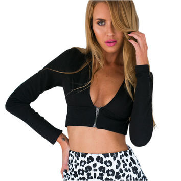 Long Sleeve Zippered Backless Cami