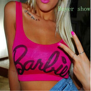 Women Clothing Tops Sleeveless Blusa Beach Crop Top Letter Barbie beyonce style Short Tanks women Mini sexy top camis F10957