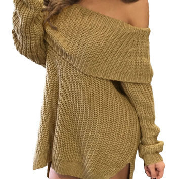 Knit Side Slit Off Shoulder Sweater