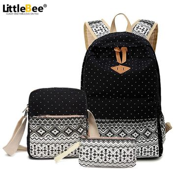 Canvas Printing Backpack Set Women School Bags for Teenage Girls Cute Bookbags Vintage Laptop Backpacks Female with Clutch Bags