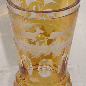 365035 Amber Flashed over Crystal Glass With Engraved Deer Running, Birds On Back, Tree, Oval Cuts, Cuts On Base