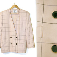 Vintage Blazer~Size Medium to Large~80s 90s Pink Black Gold Grid Stripe Plaid Coat~By Kasper A.S.L.