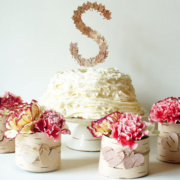 Wedding Cake Topper Monogrammed Rustic Country by jadenrainspired
