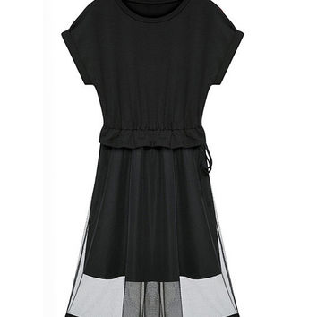 Black Short Sleeve Mesh Overlay A-line Pleated Mini Dress