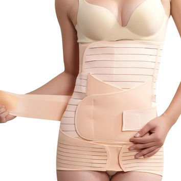 2016 3 In 1 Women M-XXL Elastic breathable Postpartum Postnatal Recoery Support Girdle Belt Maternity shape Clothes for lady