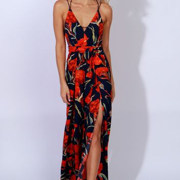 Into Nirvana Floral Print Jumpsuit Navy