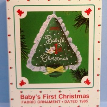 1985 Baby's First Christmas Fabric Hallmark Retired Ornament