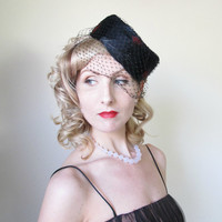 1950's Feather Hat, Pill Box, Birdcage Veil, PINUP,Burlesque, WEDDING, Bridesmaid, Goth, Fall