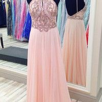 Popular Pink Prom Dress Halter Prom Dresses Evening Dress
