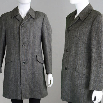 Vintage Mens Overcoat Grey Tweed Coat Brown Stripe Mod Coat Trench Coat Long Coat Wool Coat Mens Large Mens Outerwear Raincoat Winter Jacket