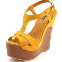 Sueded T-Strap Leatherette Wedge: Charlotte Russe