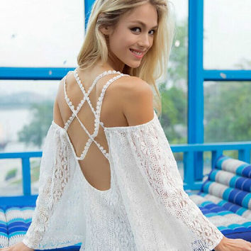 Back Crossed Hollowed-out Lace Beach Strap Dress
