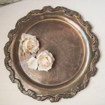 Vintage Silver Plate Ornate Serving Platter Tray, Rustic Shabby Chic Decorative Metal Tray, Wedding Decor, Farmhouse Tray, Ornate Tray