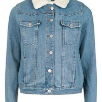MOTO Oversized Western Denim Borg Jacket