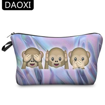 DAOXI 3D Printed Cosmetic Bags Emoji Monkey Polyester Storage for Travel Organizer Make Up Cute Gift 10015