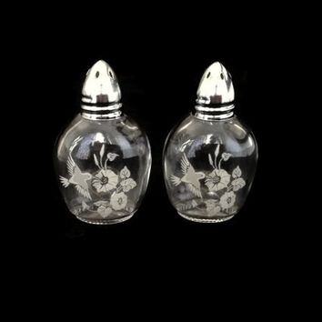 Avon Salt and Pepper Shakers, Salt and Pepper Shakers, Avon Hummingbird Crystal,  Etched Glass