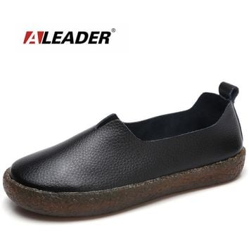 ALEADER New Fashion Womens Shoes Wide Women Casual Ballet Flats Slip On Leahter Shoes