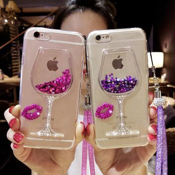 For iPhone 5 6 6S 7 8 plus X Girls Fashion Rhinestone Diamond Bling Lips Liquid sand Red wine glass Quick-sand soft phone case