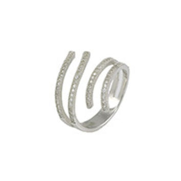 Rhodium ring with (79) 1mm round white CZ's