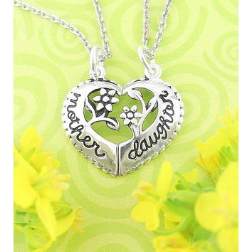 Heart-Shaped Mother and Daughter Necklace Set