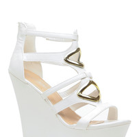 White Faux Leather Cut Out Wedges