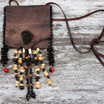 Native American Shaman Spiritual Foraging Medicine Bag Pouch, Goatskin Leather, Beads and Seeds, Wisteria, Moonflower, Four O'clock