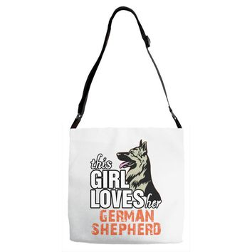 This Girl Loves Her German Shepherd Adjustable Strap Totes
