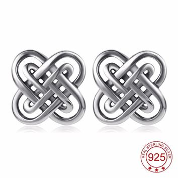 YFN 925 Sterling Silver Celtic Knot Vintage Retro Stud Earrings Fashion Jewelry For Women