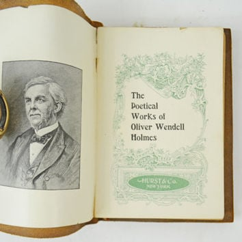 "Antique Holmes Poems Book, Rare 1800s Leather Bound Poetry Book, Limp Structure Book, Soft Cover Poems Book, Oliver Wendell Holmes ""Poems"""