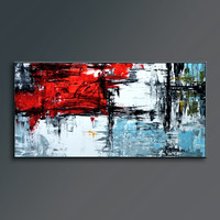"72"" x 36"" Red Black White Gray Blue Light Green Original Abstract Acrylic Painting on Canvas Wall Art Decor Wall Hanging AUXL001 UNSTRETCHED"