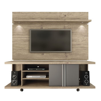 Carnegie TV Stand and Park 1.8 Floating Wall TV Panel with LED Lights in Nature and Onyx