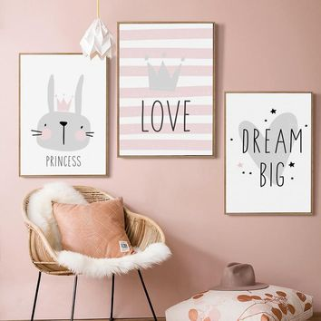 Canvas Painting Picture Cute Bunny Crown Cartoon Nursery A4 Wall Art Canvas Poster And Print Children Baby Room Home Decoration
